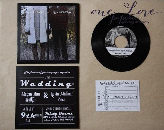 Record Wedding Invitations: Custom 7in Vinyl Record Wedding Invitation / 45 Rpm Wedding