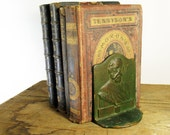 Bookends, Poet Henry W Longfellow, Brass over Cast Iron, Painted Green Highlights, Pair
