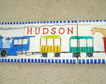 Train Painted Canvases with Child's Name - Nursery Wall Decor - Boy Room Decor