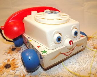 Vintage Fisher Price Pull Toy #747 - Chatter Telephone, So Call Me Maybe? Smiley Face Phone for Toddlers, Educational Toy, Communications