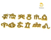 Zodiac charms- gold plated, complete set