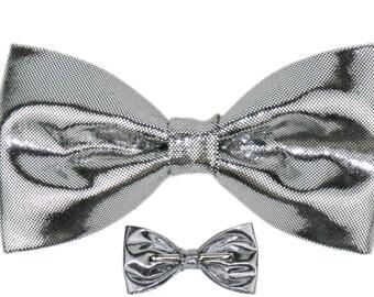 Men / Boys Shiny Silver Clip On Bow Tie Bowtie Prom