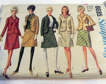 1960s Suit Jacket Blazer A line flared skirt Mod sewing pattern Simplicity 3385 Size 14 Bust 34""