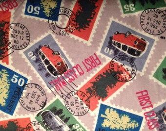 FLANNEL - Postage Stamp Fabric - Postal Fabric - Travel Stamps Fabric