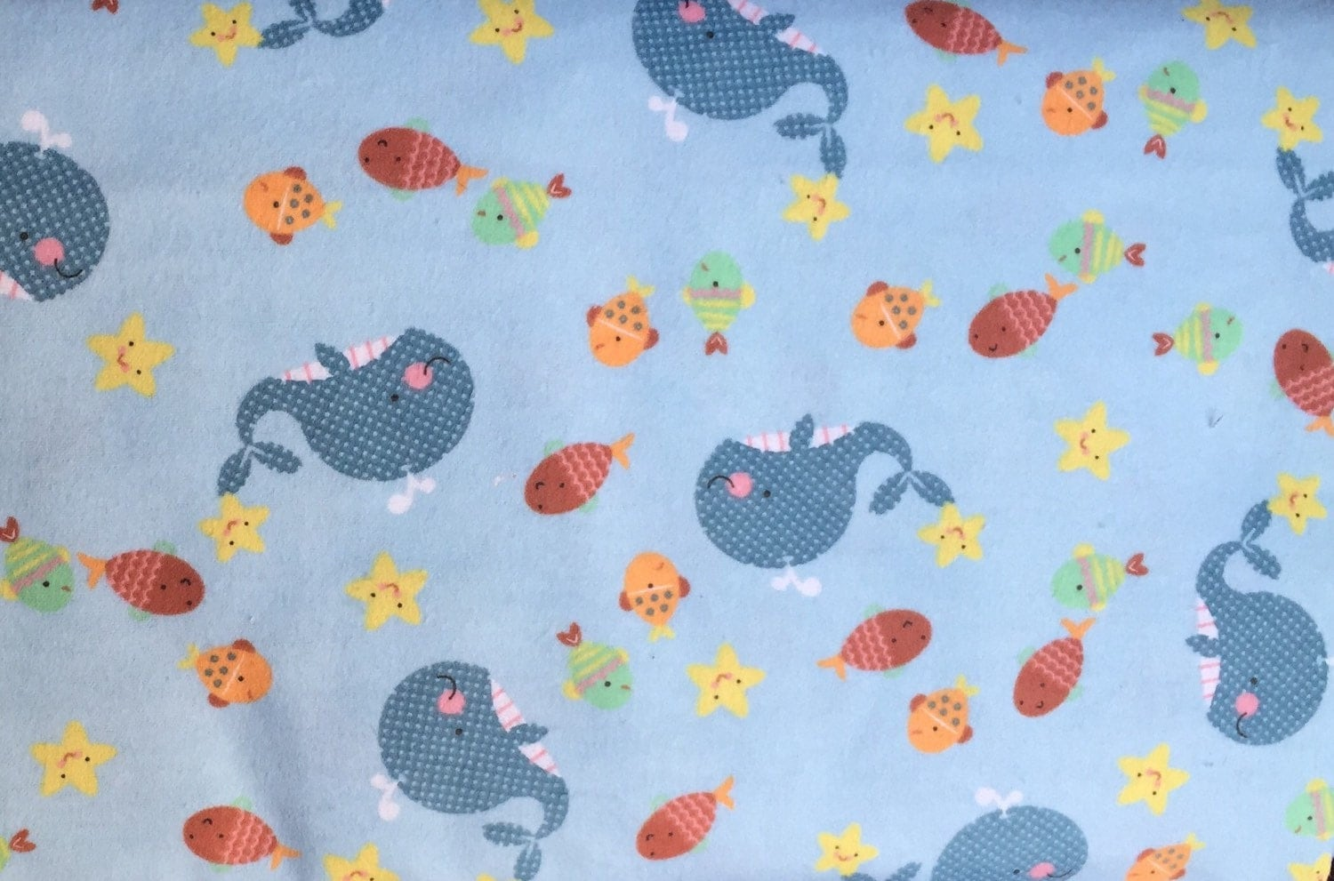 Flannel baby noah 39 s ark sea fabric baby whale fabric for Whale fabric