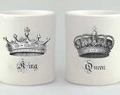 Valentine's Day Mug Gift Set, King, Queen,  Coffee Mug Set, Coffee Cup, Couples Gift,  Mug, Mugs