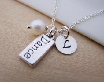 Dance Charm Swarovski Birthstone Initial Personalized Sterling Silver Necklace / Gift for Her