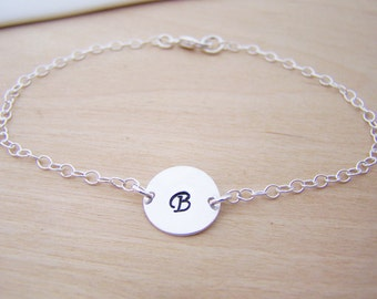 Sterling Silver Initial Disc Bracelet - Initial Bracelet - Everyday Jewelry - Initial Jewelry - Personalized Bracelet