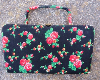 50s Black Floral Clutch by Battelstein's of Houston // Vintage Evening Bag w/ Fold in Handle