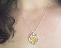 Liver disease & Liver cancer Awareness Necklace:The Life Collection/Sterling Silver/yellow bead/Swarovski/Hepatoblastoma