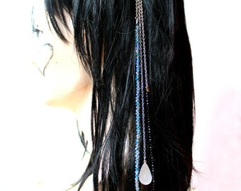 Hair Accessories, Prom Jewelry, Blue Clip Jewelry