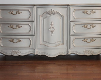 SOLD****French Light Grey Dresser/Chest of Drawers/Changing table/Media Console-*SEE BELOW