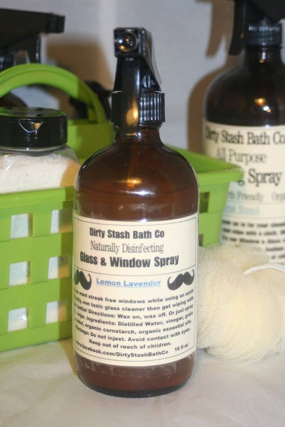 All Natural Glass & Window Spray 16 OZ Lavender Mint essential oils