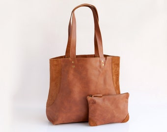Special Combo - Leather tote & Leather pouch - Women bag - Brown leather bag - Large leather bag - Everyday Bag, Shoulder Bag, Leather Bag