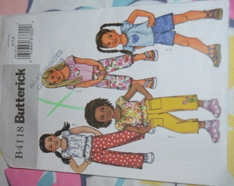 Butterick 4118 Childrens/Girls Tops and Shorts  Sewing Pattern - UNCUT Size 6 7 8