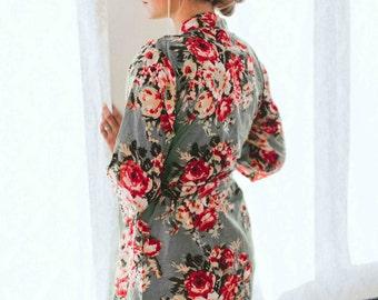 226, Floral kimono cross over robe, CUSTOM, Bridesmaids, Bride, Bridal, cotton robe, spa robe, beach cover up, dressing up robe, maternity