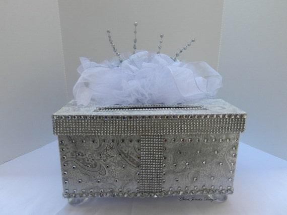 Platinum Bling Silver White  Wedding Card Box