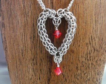 Stainless Steel Chainmaille Heart with Swarovski Crystals