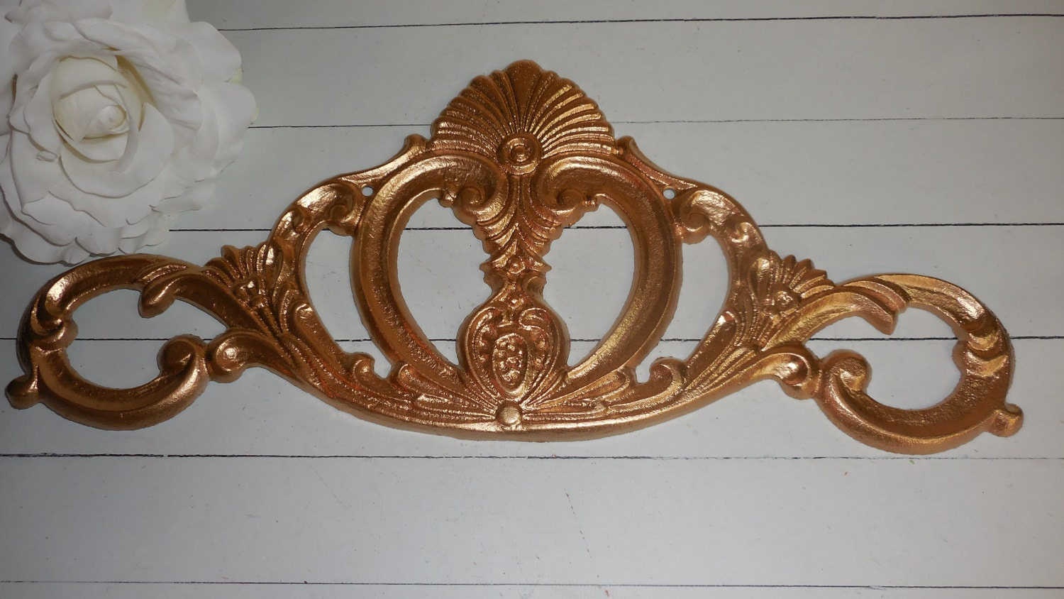 Gold cast iron wall decor wall art scroll by for Decorative scrollwork