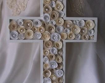 Wall Cross / Wedding Cross / Religious Gift / White Cross / First Communion Gift / Baptism Gift / Wedding Gift
