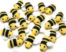 Hand knitted cute little bumble bees! Summer toy, educational, decorative to hang or use around the home or play