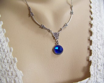 Sapphire Necklace, Deep Blue Sapphire Necklace, September Birthstone, Swarovski Sapphire, Round Sapphire Necklace, Chessboard Sapphire