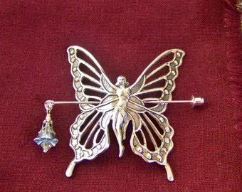 Shawl pin, Scarf pin, Sweater pin, Butterfly pin, Winged fairy pin, Fairy shawl pin, Silver fairy pin,Silver butterfly pin, Butterfly fairy