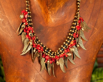 Macrame Feather coral Necklace