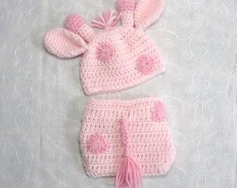 Newborn Baby Girl Giraffe Hat with Matching Diaper Cover Set~Crochet Giraffe Hat~Giraffe Newborn Photo Prop~Crochet Giraffe Diaper Set
