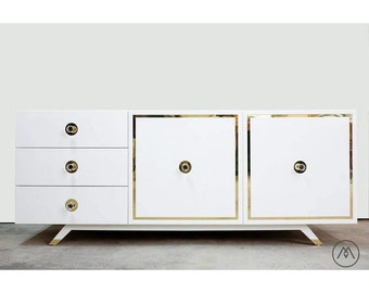 "BUILT2ORDER // Mid Century Lacquered and Brass Credenza - ""The Layla"" - Customizable Finishes & Sizes"