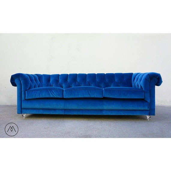 Blue Velvet Chesterfield Sofa Images