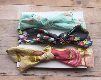Headband gift set, newborn gift set, three headband set, aqua and pink gift set