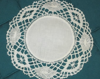 Antique/Vintage Delicate, Round Handmade Doily with Crocheted Edge