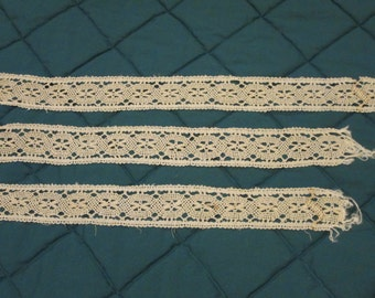 3 Pieces of Crocheted Lace or Bobbin Lace