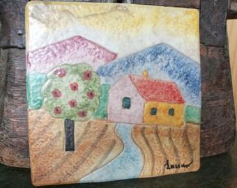 Vintage Handmade Ceramic Art Pottery Tile House Mountains