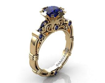 Caravaggio 14K Yellow Gold 1.0 Ct Sri Lanka Blue Sapphire Engagement Ring R623-14KYGNBS