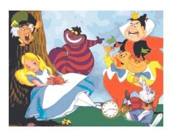 Alice in Wonderland Cartoon PDF Cross-Stitch Pattern