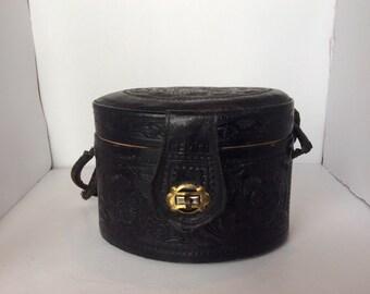 1950's Vintage Black Handtooled Leather Purse
