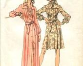 70s Dress Pattern Simplicity 5909 Size 8 Bust 31.5 Pleated Dress Long or Short Front Button Closing Collar Yoke Tie Belt Vintage 70s Pattern