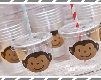 Mod Monkey themed Birthday Party, Set of 8 or 12 You Choose Party Cups, Favor Cups or Reusable Souvenir Cup
