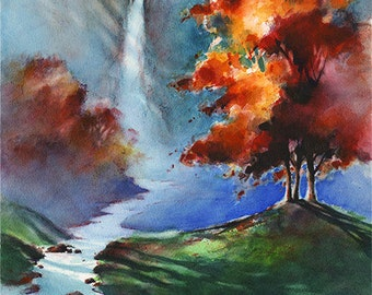 Cascade Falls - Watercolor Waterfall Art Print. Fall Colors. Autumn. Red. Orange. Blue. Stream. Trees Shadows. Landscape Watercolor Giclee
