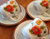 """Mikasa """"California Poppies"""" - Three Cup and Saucer Sets"""