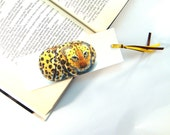 Bookmark cardboard hand painted rock leopard photography, black yellow brown