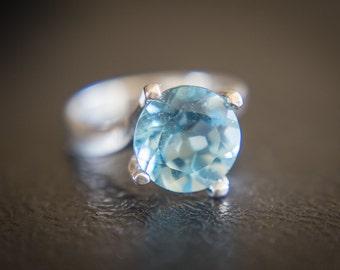 Sky Blue Topaz Ring , Huge Blue Topaz Ring , 11mm Sky Blue Topaz , Sky Blue Topaz Silver Ring