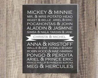 PRINTABLE - Disney Famous Couples - Wedding print wedding present - customizable with couple's names