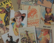 Lot of 12 Vintage Cowboy Cowgirl WESTERN Die Cuts for Scrapbooking | Lot M8