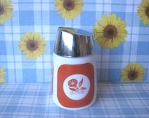 Glass Sugar Shaker -  Orange & White Flowers -  Dispensers, Inc. -  Vintage  1970's