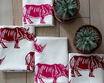 Tea Towel Retro RHINOS design Organic Cotton Tea towel Modern Towel  Screen Printed Pink
