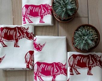 Tea Towel Retro RHINOS design Organic Cotton Tea towel Modern Towel  Screen Printed Pink