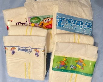 Diaper Tapes (40 Pieces) - Adult Baby Prints - Huggies, Pampers, Luvs and more